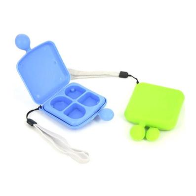 創意可愛四格笑臉小藥盒 隨身便攜 帶掛繩藥盒 家庭藥盒