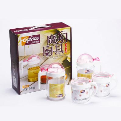 魔幻廚具四件套玻璃防漏油壺調味瓶醬油瓶