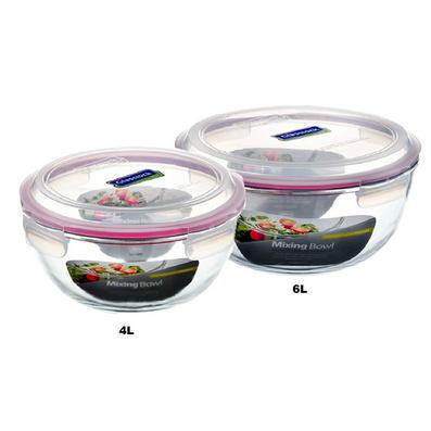 正品glasslock三光云彩鋼化玻璃保鮮碗 大容量抗摔沙拉碗 兩件套