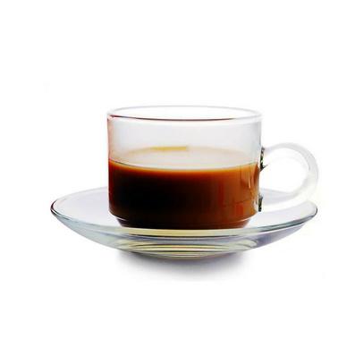 时尚透明玻璃杯 咖啡杯 带把茶杯 耐热杯碟套装