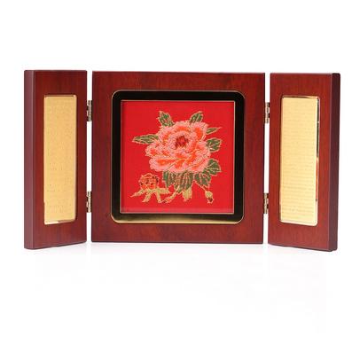 中國風擺件云錦創意小三折婚慶禮品新古典紅木擺件定制