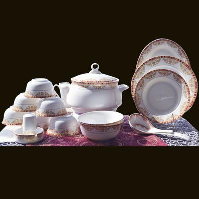 金玉满堂46头中餐具 健康骨瓷陶瓷餐具套装