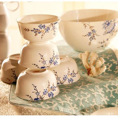 骨質瓷 英式皇家高檔青花碗盤碟廚房瓷器 22頭陶瓷餐具套裝