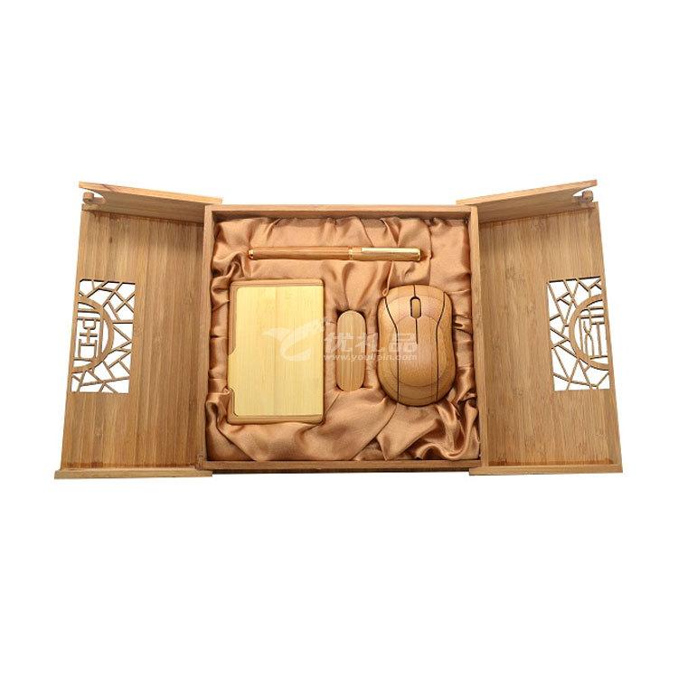 原生态竹木鼠标 名片盒 U盘 笔 商务套装 天然竹木礼品