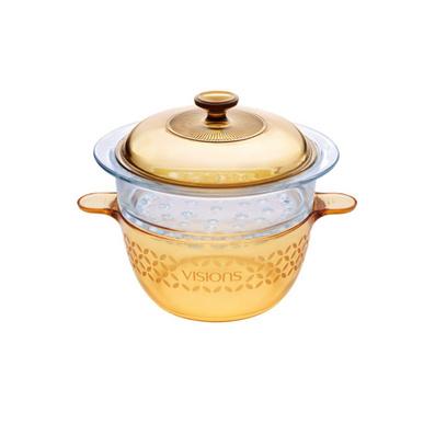 晶彩透明锅四叶草花色+蒸格套组