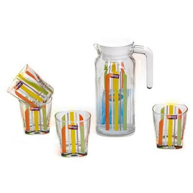 彩虹水具五件套杯具茶具套裝 精美玻璃彩色印花水具禮盒五件套定制