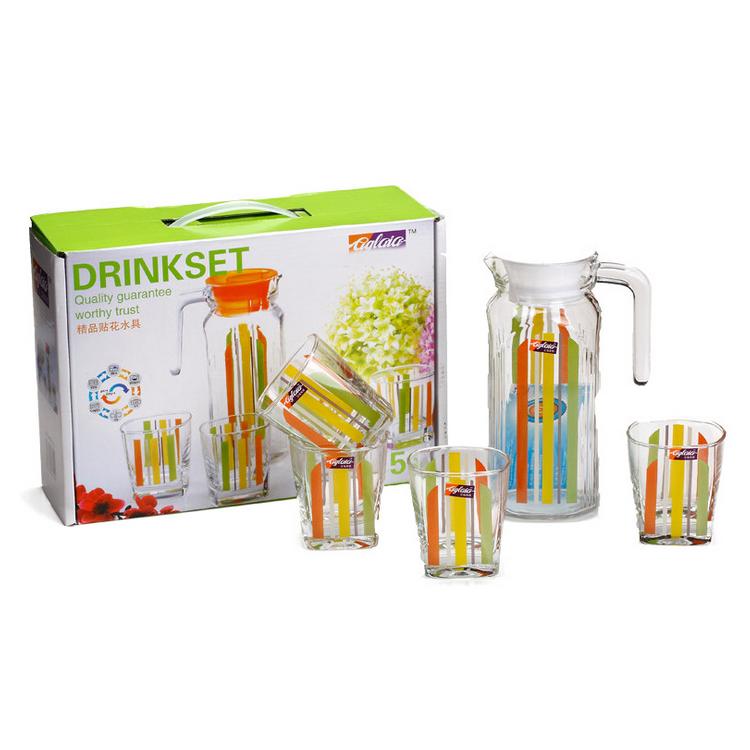 彩虹水具五件套杯具茶具套装 精美玻璃彩色印花水具礼盒五件套定制