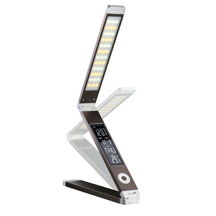 LED折叠台灯 带USB充电万年历闹钟触摸五档调光便携台灯