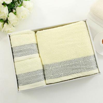 回字邊毛巾浴巾三件套   純棉浴巾毛巾三件套