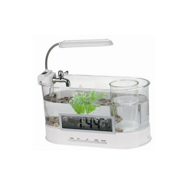流水式迷你魚缸LED彩燈透明液晶臺歷USB水族箱