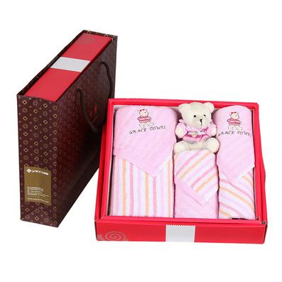 潔麗雅毛巾禮盒套裝情侶系列純棉吸水面巾方巾結婚創意禮物三件套