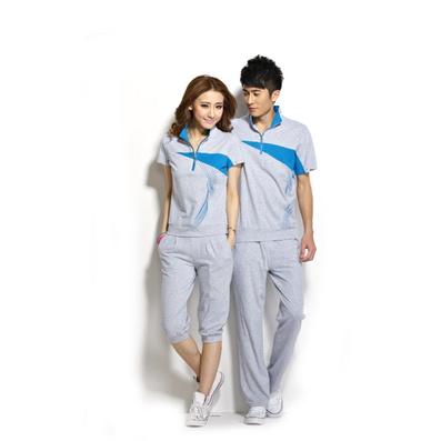 全棉精梳情侶運動服男女款情侶短袖T恤套裝