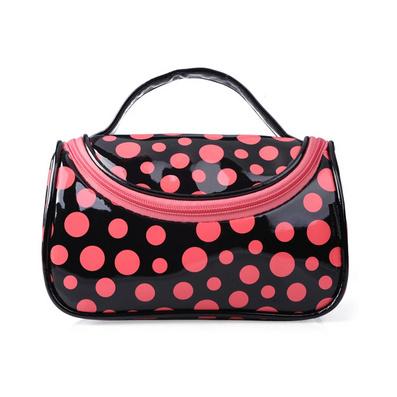 新款女包 漆皮撞色波點化妝包 專業化妝袋 手提包