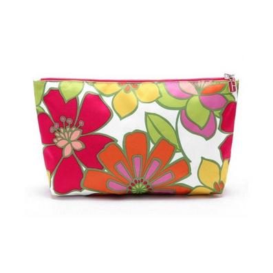 活力絢爛大花朵緞面化妝包/洗漱收納包