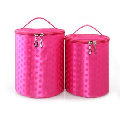 韓版大圓點絲光面專業化妝包 圓筒形收納化妝袋 新款女包