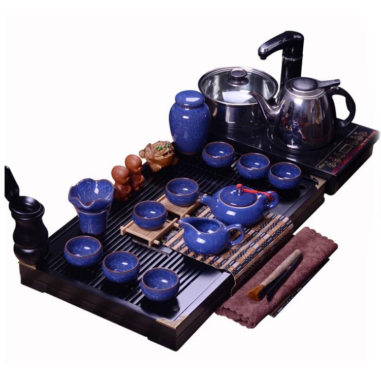 紫砂功夫冰裂雪花釉陶瓷茶具套装 四合一电磁炉茶盘
