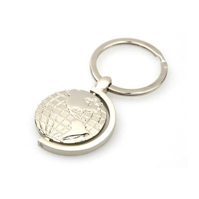 可旋轉地球的鑰匙扣圓形地圖造型商務禮品鑰匙圈