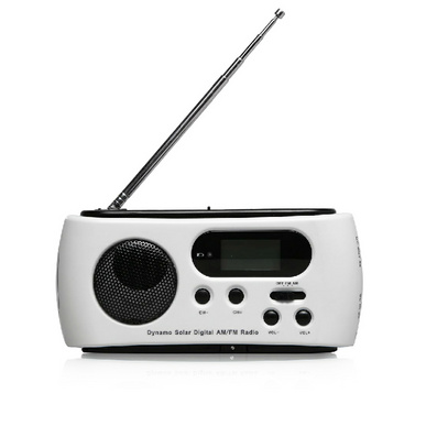 手摇收音机手电筒 LCD数字显示收音机 太阳能照明灯