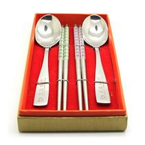 高檔不銹鋼餐具四件套不銹鋼筷子勺子套裝中式2人份餐具套裝定制