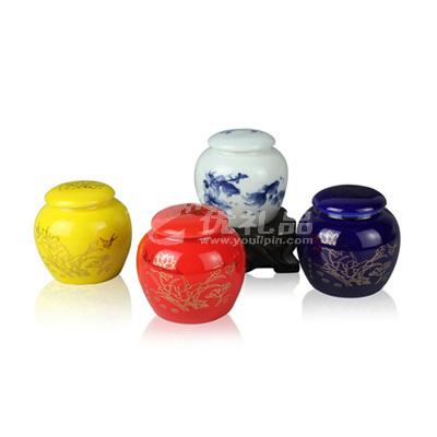 小巧中國風陶瓷茶葉罐100ml茶葉密封罐茶具定制
