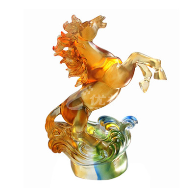 高檔琉璃擺件馬定制琉璃禮品定制企業禮品可印LOGO