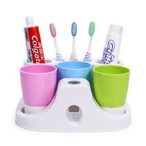 三口之家洗漱套裝 漱口杯定制 自動擠牙膏器牙刷架定制