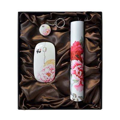 新品牡丹無線鼠標鼠標墊8G U盤套裝特色中國風禮品定制
