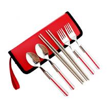 户外餐具定制 不锈钢餐具六件套定制 旅行便携六件套餐具