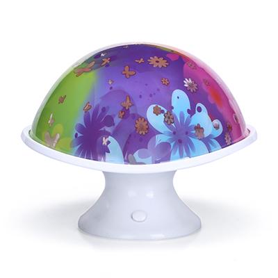 創意七彩蘑菇月光投影燈LED小夜燈多彩床頭燈