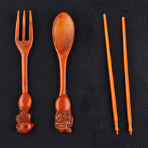 天然牦牛骨餐具套装手工雕刻复古餐具套装定制
