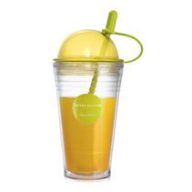 創意吸管杯情侶星巴克咖啡杯雙層大容量檸檬果汁杯