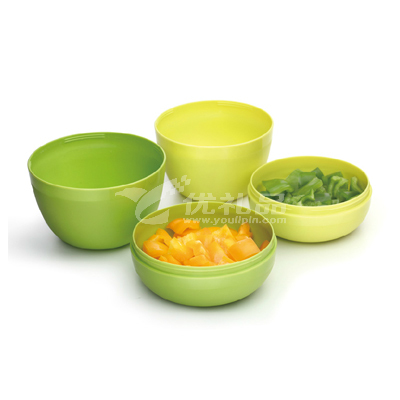 創意環保碗碟4件組合餐具套裝便攜收納碗