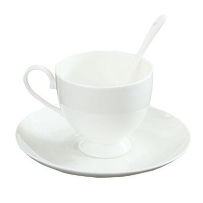 优质骨质瓷咖啡杯碟 纯白陶瓷骨瓷