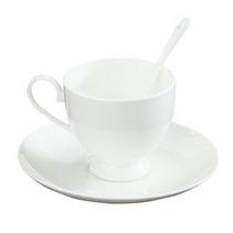 喔喔质骨质瓷咖啡杯碟 纯白陶瓷骨瓷