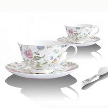 骨瓷2杯2碟英式紅茶杯 歐式咖啡杯碟套裝送勺子 陶瓷杯子 薔薇花