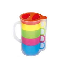 多彩樂水壺套杯 960ml 冷水套杯 冷水壺塑料套杯 咖啡套杯 四杯一壺 塑料水壺 水壺套裝 塑料套杯 定做