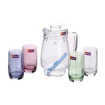 彩色玻璃水具5件套茶具套裝 精美玻璃彩色印花水具禮盒五件套定制