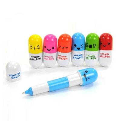 新款广告促销药丸伸缩笔 广告礼品伸缩笔 药丸笔
