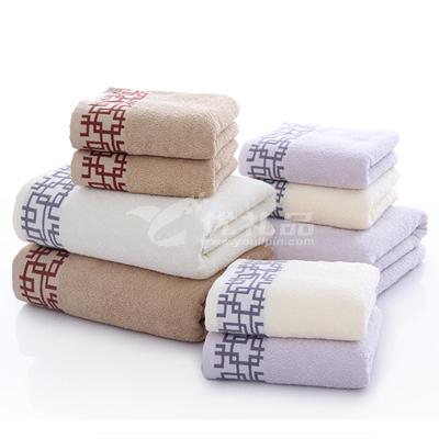純棉套巾 一浴巾二毛巾 窗欞套巾毛巾禮盒定制
