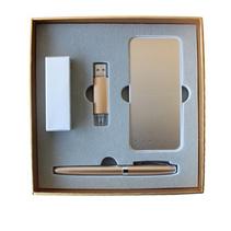 土豪金电子礼品套装-i 5移动电源U盘三件套装商务礼品定制