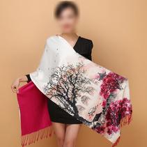 上海故事桑蠶絲絲巾女雙面秋冬長款真絲圍巾披肩兩用