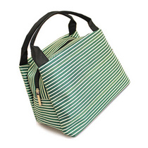 帆布条纹手提包手拎包潮饭盒包袋便当包