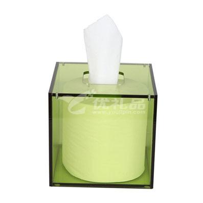 亞克力紙巾盒126*126*120MM 透明綠