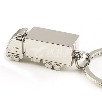 实心立体大货车集装箱卡车金属汽车模型钥匙扣钥匙链可定LOGO
