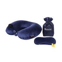 商旅宝 按压式自动充气u型枕头 收纳袋 眼罩三件套