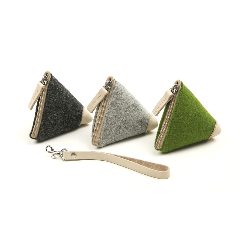 環保毛氈粽子包零錢硬幣包 電源收納包毛氈鑰匙包