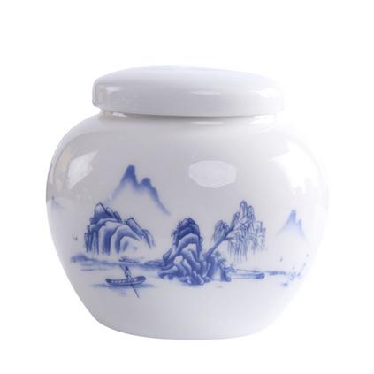 青花陶瓷茶葉罐定制密封罐蜂蜜膏方罐禮盒禮品套裝中號茶葉罐子定制