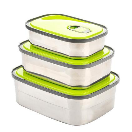 新款創意長方形不銹鋼學生飯盒3件套泡面碗便當盒帶蓋密封保鮮盒