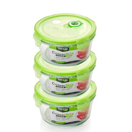 新款創意耐熱玻璃保鮮盒 圓形玻璃飯樂扣飯盒微波爐密封便當盒