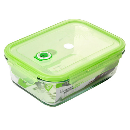 带活塞计时高硼硅耐热玻璃保鲜盒长方形四边扣餐盒550ml
